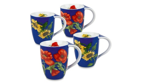 Set of 4 Mugs Flowers on Blue - 2 Poppy, 2 Sunflower f7e7889d-3d00-4614-bdd5-c54fd078e93e