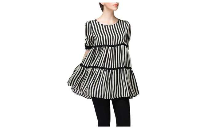 Women's Printed Casual Loose Vertical Stripes Chiffon Blouse