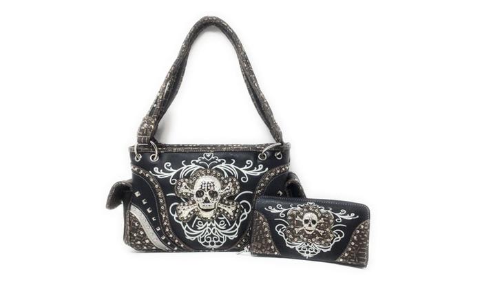 2ffe062efa Rhinestone Embroidered Metal Skull Leather Women Concealed Handbag ...