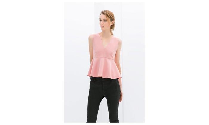 Women's V-Neck Sleeveless Vest Flounced Hem – KMWSB725