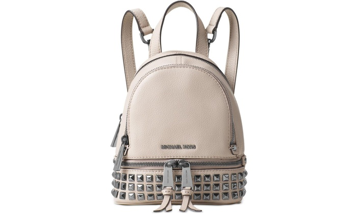 aaac111c9712 Michael Kors Rhea Extra-Small Studded Leather Backpack - Cement -  30T6TEZB5L-092