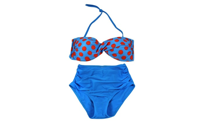 Women's Fashion Polka Dot High Waisted Halter Bathing Suits Bikini