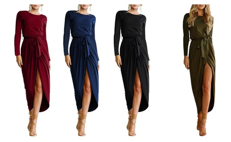 Women's Solid Casual Long Sleeve Slit Party Maxi Dress With Belt 2068e278-bad3-4b66-9045-d56a3187a419