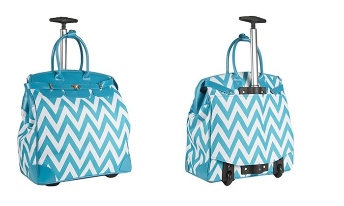 Teal Blue Chevron Rolling Wheeled Overnight Bag