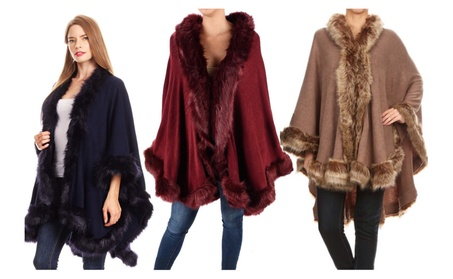 Fur Cape Sweater Poncho Wrap Fall and Winter
