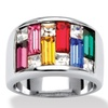 Princess and Baguette-Cut Crystal Silvertone Ring