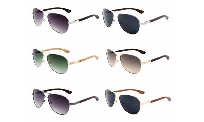 EKO Metal Wood Aviator Sunglasses