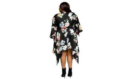 Xehar Women's Plus Size Asymmetrical Hem Floral Wrap Midi Dress cf5e923e-7654-45a1-b05b-6610313c5b56