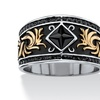 Men's Black Crystal Gold Ion-Plated Antique Stainless Steel Two-Tone Scroll Ring