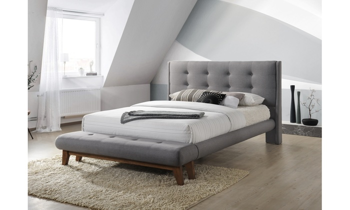 Reena Fabric Platform Bed with Built in Bench | Groupon