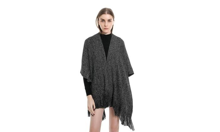 Women Knit Wrap Fringe Ponchos Cardigan Sweater