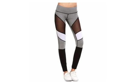 Shades Black Mesh Patwork Women's Capri Leggings Yoga Pants 6dd215bf-dcf4-4b40-baf6-8b2570842627