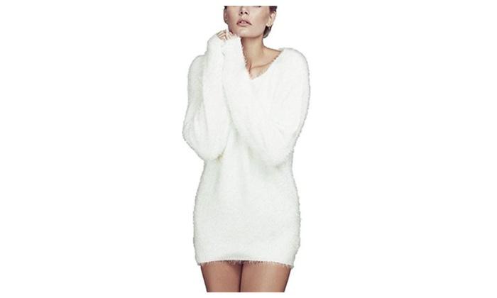 Summerwhisper Women's Fluffy Mohair Bodycon Knit Pullover Sweater White
