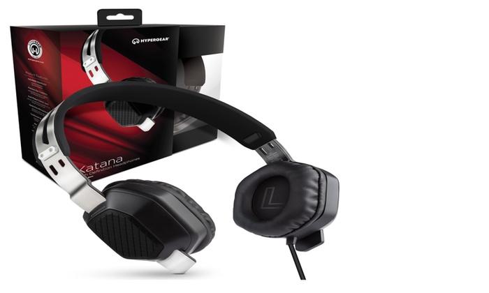 hypergear katana high definition headphones w mic 3 5mm black groupon