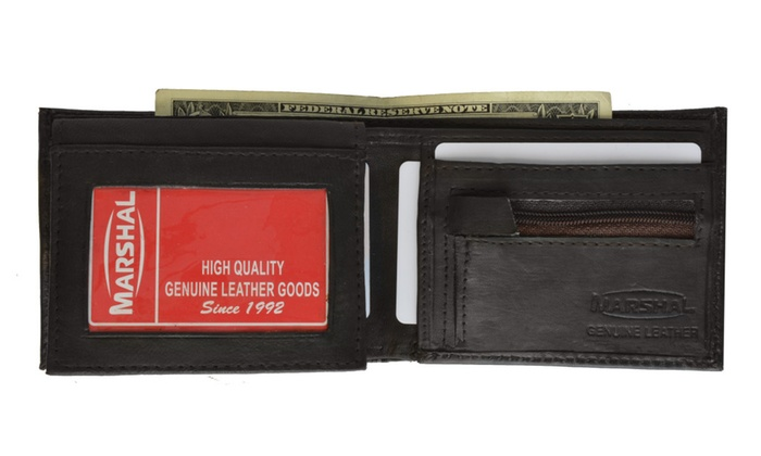 Lamb Leather Flap Up ID Card  W/Zippered Compartment Bifold Wallet