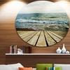 Wooden Pier in Waving Sea' Seascape Circle Metal Wall Art