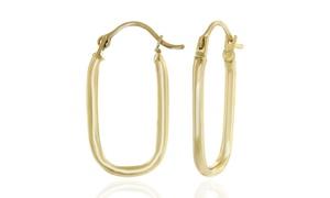 14K Solid Gold Rounded Rectangular Hoop Earrings