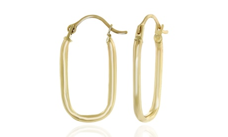 14K Solid Gold Rounded Rectangular Hoop Earrings