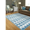 LR Home Contemporary Whimsical Chevron White Blue Rectangle Indoor Area Rug