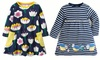 Girls Cotton Long Sleeve Dress Baby Girls Stripe Cartoon Clothes