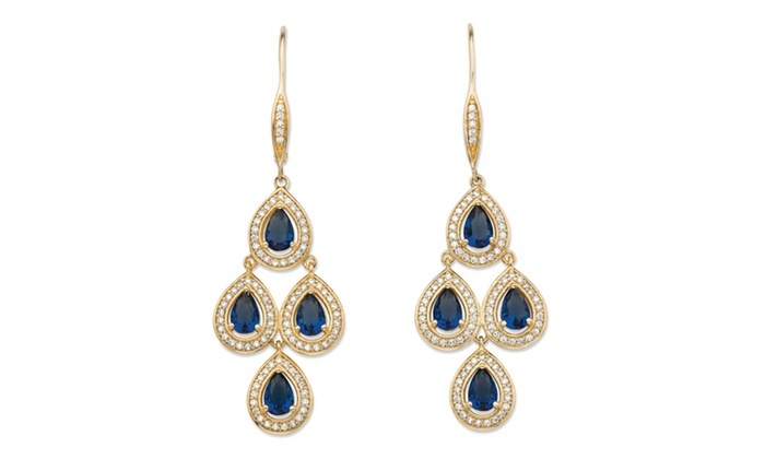 Groupon Goods: .90 TCW Simulated Sapphire 14k Gold-Plate Earrings