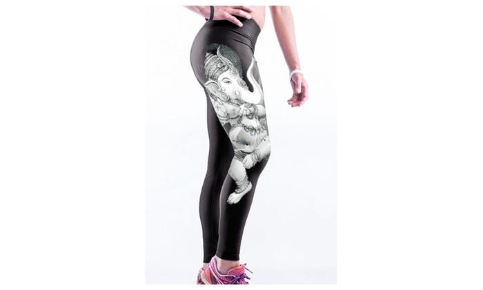 Women's Buddha Elephant Print Stretch Yoga Pants - one size