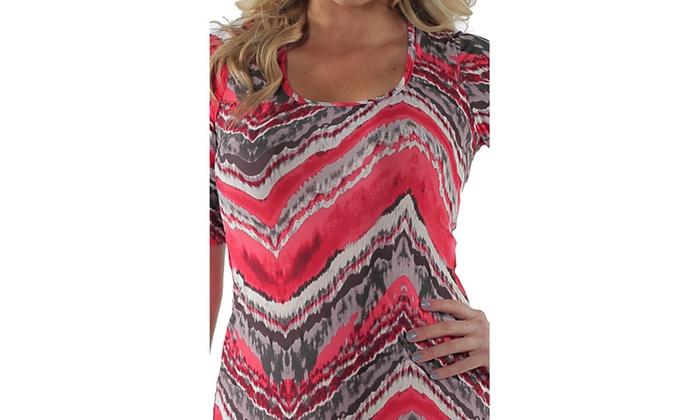 84170066156 24 7 Comfort Apparel Women s Red Grey Zig Zag Maxi Dress
