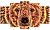 Psychedelic Bear- Animal Metal Wall Art 60x32 5 Panels