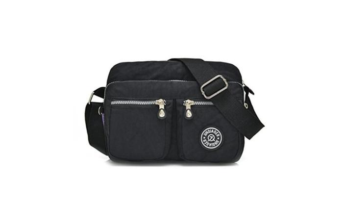 Tiny Chou Lightweight Waterproof Nylon Shoulder Bag Compact Crossbody Messenger Bag with Pockets