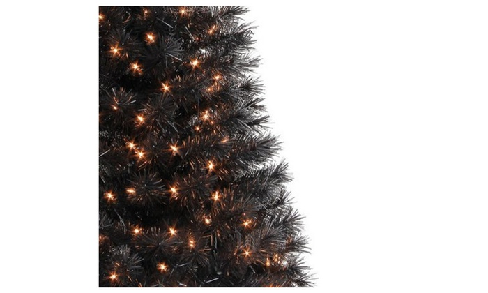 tree holiday time pre lit 4 indiana spruce black artificial christmas - Black Artificial Christmas Tree