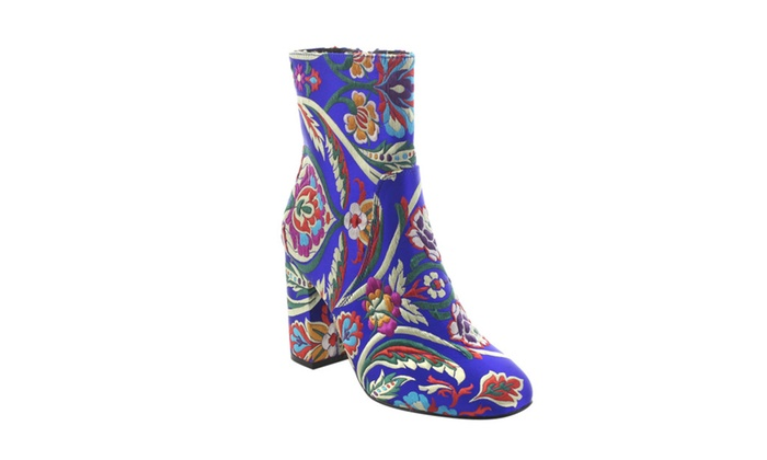 Beston FJ59 Women's Chunky High Heel Floral Embroidery Ankle Booties