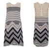 Boho Print Lace Dresses Women O-neck Wave Striped Sleeveless Dress