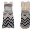 Women Boho Print Lace Patchwork O-neck Wave Striped Sleeveless Dress