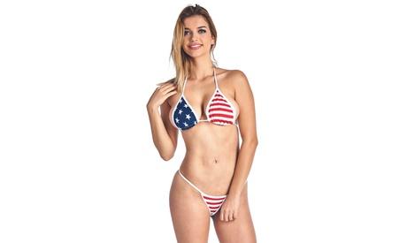 721ea9351c4e3 Women s Juniors USA Flag 2-Piece Bikini Micro Thong Swimwear photo