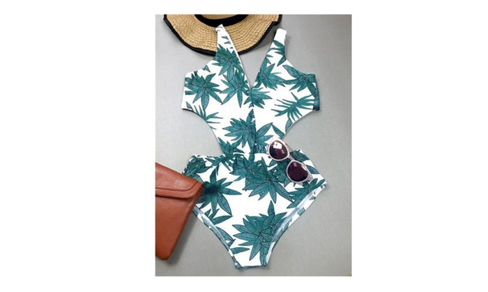 Green Leaf Printed One-piece Swimsuit