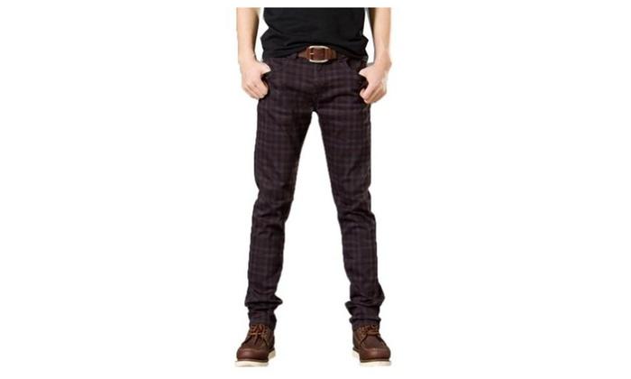 Men's Fashion Casual Slim Fit Checked Plaid Skinny Pants