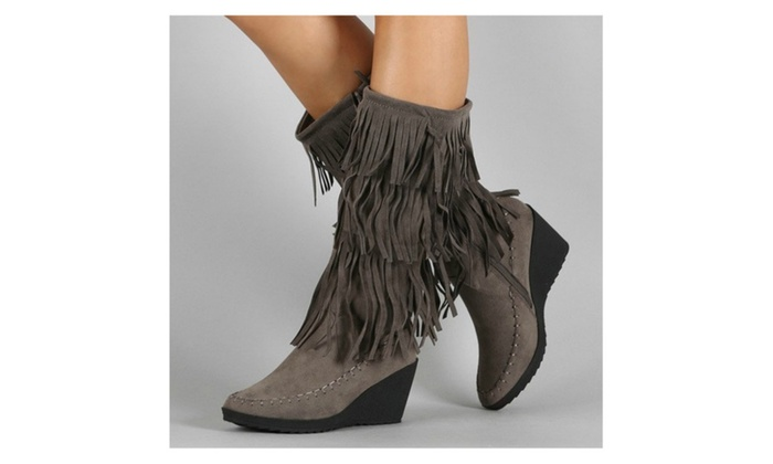 Gorgeous Gray Fringe Boots | Groupon