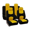 Universal Flat Cloth Fabric Full Set Car Seat Cover, Yellow and Black