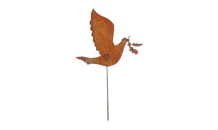 Village Wrought Iron RGS 30 Dove Rusted Garden Stake