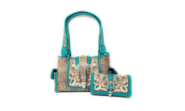 b6b74f3ed5be Premium Western Buckle Embroidery Concealed Carry Handbag   Wallet ...