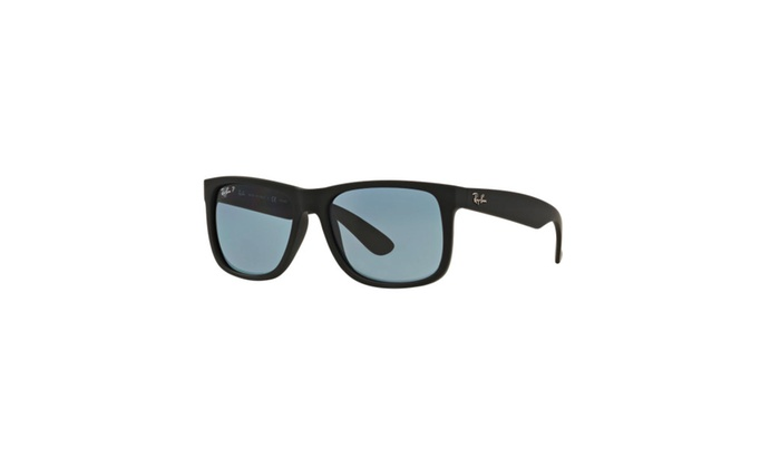 Ray-Ban 55mm Justin Wayfarer Sunglasses (Black Rubber/Polarized Blue)