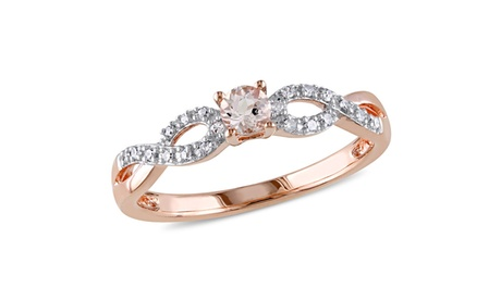 1/10 CT Diamond And 1/6 CT TGW Morganite Fashion Ring Pink Silver 2ee9fba6-7454-4c76-9879-4e6b4ada858f