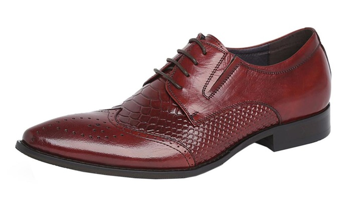 Mens Classic Leather Wingtip Oxford Dress Shoe