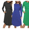 Women's Casual Long Sleeve Striped Tunic T-shirt Dress with Pocket