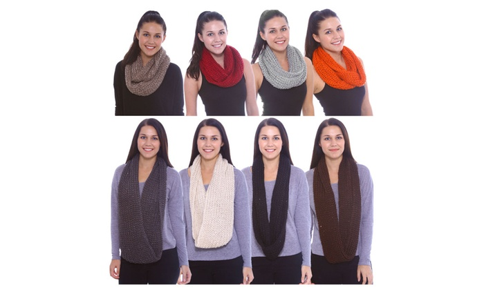 Women's Hand Knitted Infinity Warm Sequins Scarf for the Winter Season
