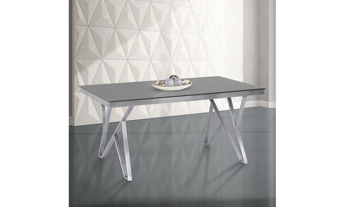 Mirage Tempered Glass And Brushed Stainless Steel Dining Table |  LivingSocial