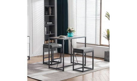 3 Piece Dining Table Set, Dining Set for 2, Table and 2 PU Stools