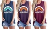 Women Rainbow Graphic Printed Tank Tops Casual Sleeveless Blouse Shirts