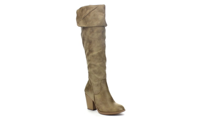 Beston ELSA Women's Slouchy Fold Over High Chunky Knee High Boots