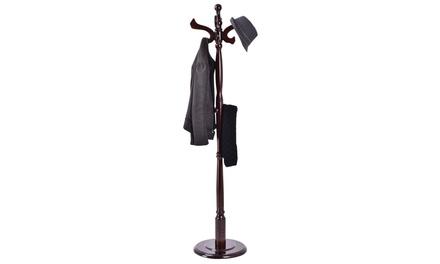 Costway 71'' Free Standing Solid Wood Coat Hat Scarf Rack Hanger Tree